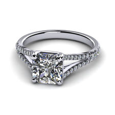 Radiant 0.70 Ct Real VS1 Diamond Engagement Rings 14K Solid White Gold Size 6