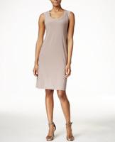 R&M RICHARDS Beige Glitter Neckline Sleeveless Knit Shift Dress NEW P/M