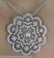 Lovely 14k W/G 1 Cts. Scallop Edge Diamonds Pin/Pendant w/Diamond Rondel Chain