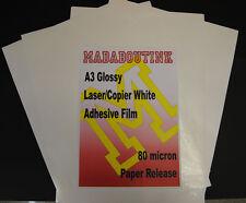 20 A3 Stampante Laser Bianco Adesivo Adesivo Pellicola Fogli 80mic Carta release