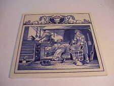 VINT 1990 BURROUGHS WELLCOME BLU/WHT DELFT PHARMACY TILE PHARMACIST LABORATORY