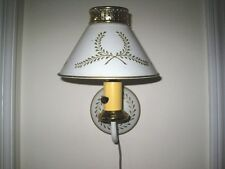 Shabby Vintage Country Cottage Tole Mid Century Ivory Wall Sconce Lamp Light