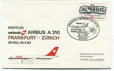 FFC 1983 Swissair First Flight Airbus A 310 Frankfurt Zurich Schweiz Bundespost