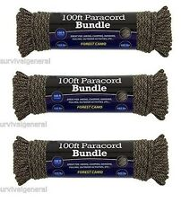 (3) 550 Paracord 100 ft Parachute 7 Cord Strand Forest Rope Survival Outdoor 300