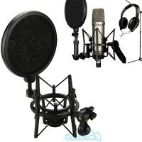 Large Microphone Shock Mount Stand Audio Mic Holder w/ Shield Pop Filter Screen