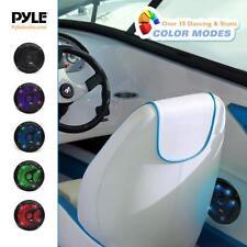 Pair Pyle 6.5'' Marine Waterproof Speakers, Multi-Color LED Lights 150W Black