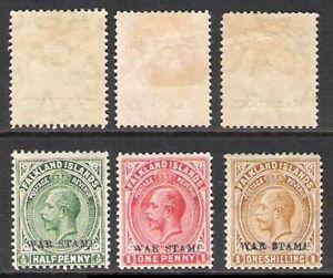 FALKLAND ISLANDS 1918 WAR STAMP LOT OF THREE (HM)