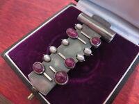 Toller 900 Silber Anhänger GP Jugendstil Art Deco Rot Perle Designer Groß Museal