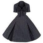 ROCKABILLY 50s BLACK WHITE POLKA DOT VINTAGE STYLE PIN UP SWING PROM DRESS 8-20