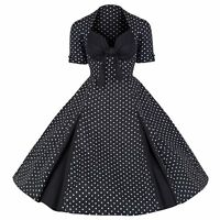 ROCKABILLY 50s  BLACK WHITE POLKA DOT VINTAGE STYLE PIN UP SWING PROM DRESS 8-20