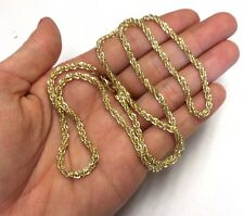"Gorgeous NEW | Solid 14K Yellow Gold 24"" 3mm Woven Wheat Rope Chain Necklace"