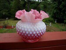 Fenton Glass Cranberry Opalescent Hobnail Vase