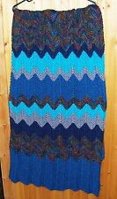 Hand Knit Turquoise and Brown Afghan