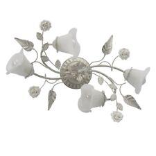 Florentiner Deckenleuchte weiß-goldfarbiges Metall matte Glasschirme Blumendekor