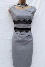 KAREN MILLEN Tailored Grey Wool Hounds-Tooth Lace Trim Galaxy Winter DRESS 12-10