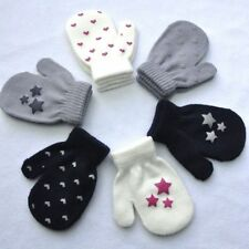 Cute Kids Winter Gloves Fashion Toddler Mittens Knitted Dot Star Heart Gloves