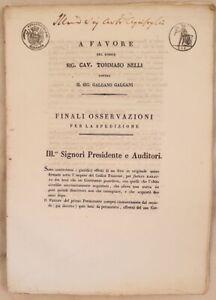MEMORIA BARATTO DI BENI ACQUISTO TOMMASO NELLI GALGANO GALGANI 1832 STUDIO
