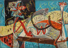 """Jackson Pollock HUGE Oil Painting on Canvas Abstract Stenographic Figure 28x40"""""""