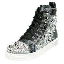 Black Silver Spikes High Top Sneakers