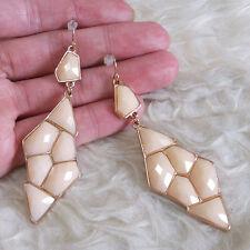 Vintage Womens Bohemian  Antique-Tone ORANGE Bead Dangle Fall Drop Hook Earrings