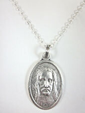"""Holy Face of Jesus / Cross Medal Italy Pendant Necklace 20"""" Chain Gift Box"""