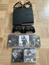 Sony Playstation 3 Slim 320GB PS3 Slim Jet Black 2 Controllers Included & Games