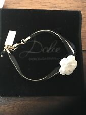 Dolce & Gabbana black & pink ribbon ceramic flower bracelet