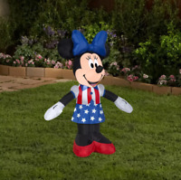 Gemmy Airblown Inflatable Patriotic Minnie Mouse, 3.5 ft Tall, white