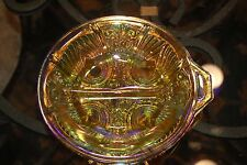"8.5"" CARNIVAL GLASS Divided Nut VINTAGE Dish BEAUTIFUL Piece"