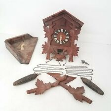 "Brown Wood Wall Mounted Cuckoo Clock 15"" Tall"