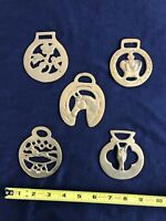 Vintage Set of 5 Horse Brass Medallions Imported from England