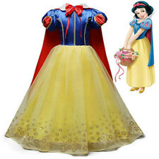 Child Girls Snow White Princess Fancy Dress Up Costume Party Outfit With Cape UK