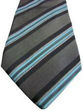 KENZO HOMME Mens Tie Grey & Blue Stripes - TEXTURED