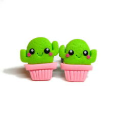 Handmade Funky Cactus Plant Green Desert Kawaii Flower Funny Earrings Jewelry