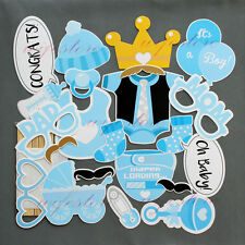 Baby Shower Photo Booth Props New Born Boy Mister Party Decorations in Blue