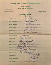 More details for australian cricket team south africa 57 genuine autographs / simpson /benaud etc