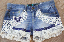 Handmade Upcycled Lace Applique Jeans/ Denim Shorts/