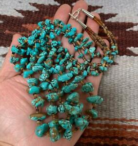 """Gorgeous multi-strands graduate size turquoise nuggets necklace/23""""(t736a-w4)"""