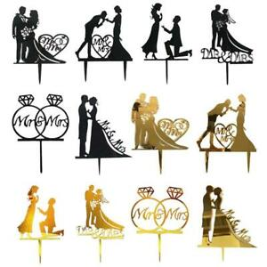 10pcs Acrylic Mr And Mrs Cake Toppers Gold Black Bride And Groom Wedding Toppers