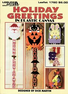 Holiday Greetings in Plastic Canvas Merry Christmas USA Halloween Easter Bunny