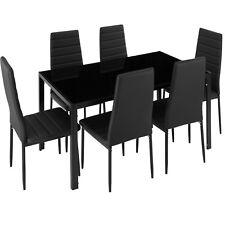 Lot De 6 Chaises Table Salle A Manger Ensemble Cuisine Salon Set Meubles Noir