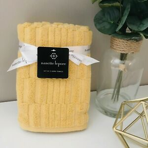 SET OF 2 New Nanette Lepore Hand Towels Cotton Yellow Vertical Geometric