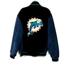 Vintage Miami Dolphins Jacket Mens Size L Black Suede Leather Zip Up NFL EUC