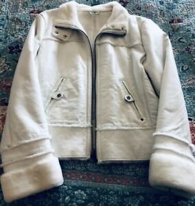 Black Rivet White Genuine Leather Faux Fur Lined Moto Jacket Women Size XL