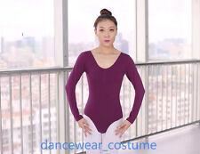 Ladies Long Sleeve Stretch Leotard Bodysuit Tank Ballet Gymnastics Tight Top New