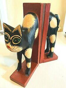 Cat Bookends Wooden Painted Boho Rustic Unique Primitive