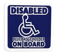 """""""DISABLED BLUE BADGE HOLDER ON BOARD"""" Cling Disabled Sign For Any Glass Surface"""