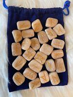MOONSTONE Rune Set (24 Stones) with Velvet Draw String Bag with Book Set