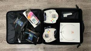 Sega Dreamcast Console w/ two controllers, cables, three VMUs - good condition