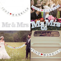 JUST MARRIED Flag Garland Photo Props Signs Banner Weeding Party Hanging Decor